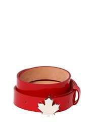Dsquared 25Mm Patent Leather Belt W Leaf Detail Red
