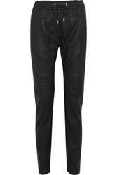 Balmain Quilted Leather Tapered Pants Black