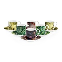 Roberto Cavalli Paradise Foliage Coffee Cups And Saucer Set Of 6