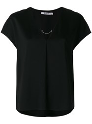 Alexander Wang T By Short Sleeved Top With Chain Women Polyester Spandex Elastane Viscose 4 Black