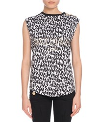 Balmain Button Shoulder Leopard Print Muscle Tee