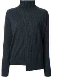 Astraet Asymmetric Cable Knit Jumper Grey