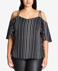 City Chic Trendy Plus Size Striped Off The Shoulder Top Black
