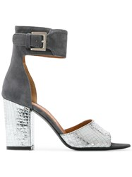 Via Roma 15 Ankle Strap Buckled Sandals Metallic