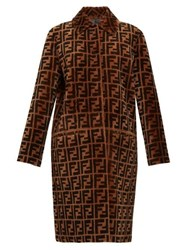 Fendi Reversible Ff Shearling And Leather Coat Brown Multi