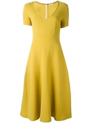 P.A.R.O.S.H. V Neck Short Sleeved Dress Yellow And Orange