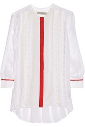 Preen Line Virginia Lace And Crepe Paneled Georgette Shirt White