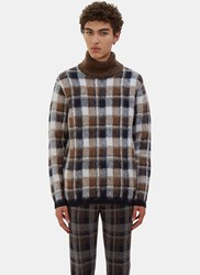 Fendi Checked Hairy Knit Roll Neck Sweater Brown