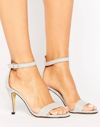 Oasis Suedette Barely There Heeled Sandal Grey