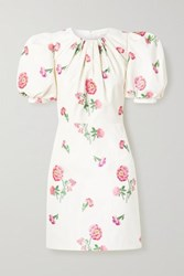 Andrew Gn Gathered Floral Jacquard Mini Dress Off White