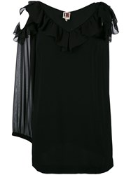 I'm Isola Marras Cut Out Ruffle Blouse Women Polyester Acetate Viscose 46 Black