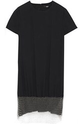 Versus By Versace Woman Chainmail Embellished Crepe Mini Dress Black