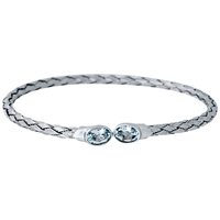Jools By Jenny Brown Rhodium Plated Silver Blue Topaz Bangle