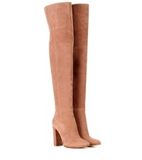 Gianvito Rossi Exclusive To Mytheresa.Com Suede Thigh High Boots Neutrals