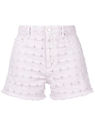 Etoile Isabel Marant Embroidered Denim Shorts Pink And Purple