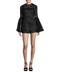 Alexis Lace Bell Sleeve Romper Black