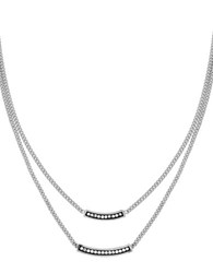 Cole Haan Double Pave Bar Necklace Silver