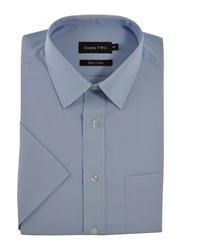 Double Two King Size Classic Shirt Sleeve Shirt Light Blue
