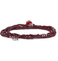 Isaia Garnet Bead And Silver Wrap Bracelet Red