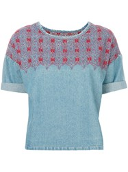 Current Elliott Embroidered Denim Top Women Cotton 2 Blue