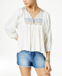 Roxy Juniors' Embroidered Cotton Peasant Top Natural