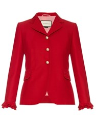 Gucci Ruffle Trimmed Wool And Silk Blend Jacket Red