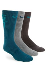 Nike Men's 'Fly V4' Dri Fit Crew Socks Charcoal Grey Black