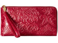 Hobo Rylan Damask Embossed Red Plum Handbags