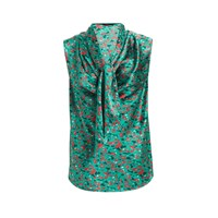 Wtr Savannah Print Silk Scarf Top Turquoise Blue
