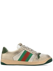 Gucci Virtus Perforated Leather Sneakers Beige Green