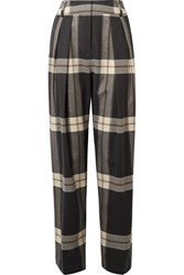 By Malene Birger Lorrany Checked Felt Wide Leg Pants Charcoal