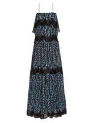 Athena Procopiou When I Close My Eyes Lace Trimmed Maxi Dress Black Blue