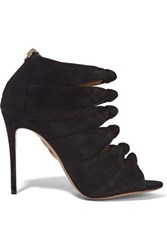 Aquazzura Nasiba Cutout Suede Sandals Black