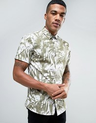 Solid Shirt In Palm Print Wth Short Sleeves In Regular Fit 3784 Green