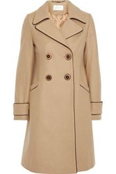 Goat Woman Double Breasted Wool Blend Coat Camel