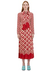 Gucci Long Geometric Print Pleated Crepe De Chine Dress Red