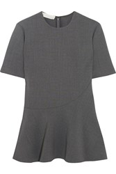 Stella Mccartney Stretch Wool Crepe Peplum Top Anthracite