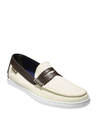 Cole Haan Canvas And Leather Penny Loafers White