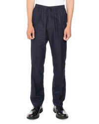 Dries Van Noten Perkins Linen Cotton Lightweight Drawstring Pants Navy