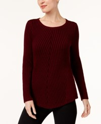 Style And Co Petite Chevron Ribbed Sweater Created For Macy's Scarlet Black