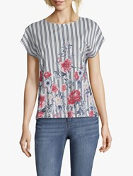 Betty And Co. Floral Stripe Top White Blue