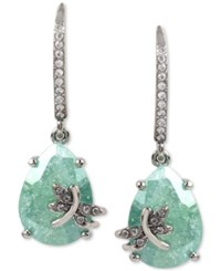 Betsey Johnson Silver Tone Green Stone Pave And Dragonfly Drop Earrings