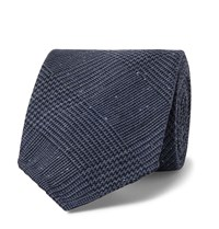 Drakes Drake's 8Cm Prince Of Wales Checked Silk And Wool Blend Tie Blue
