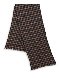 Hickey Freeman Tattersall Patterned Merino Wool Scarf Multi