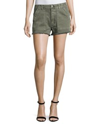 Hudson Mika High Rise Military Shorts With Raw Hem Green