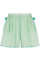 M Missoni Embroidered Cotton And Silk Blend Shorts Green