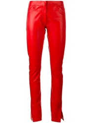 Loewe Straight Leather Pants Red