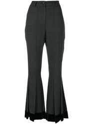 Dolce And Gabbana Flared Pleated Trousers Silk Cotton Polyester Wool Grey