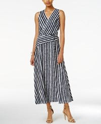 Armani Exchange Striped Maxi Dress White Navy Combo