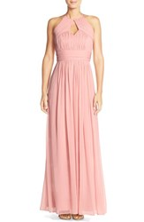 Women's Dessy Collection Ruched Chiffon Keyhole Halter Gown Rose